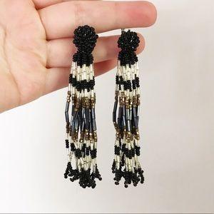 70s Seed Bead Waterfall Clip On Earrings Boho
